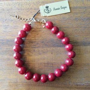 "NWT Red Beaded Bracelet 8"" + Ext"